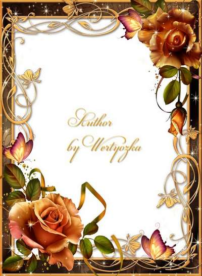 Frame for Photoshop - Roses, butterflies and gold ornaments