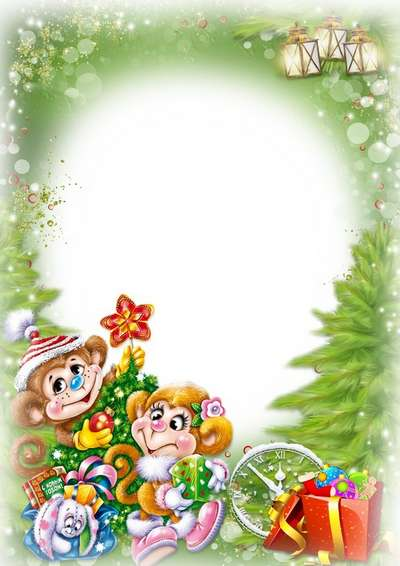 Free Christmas PSD frame for children with monkeys