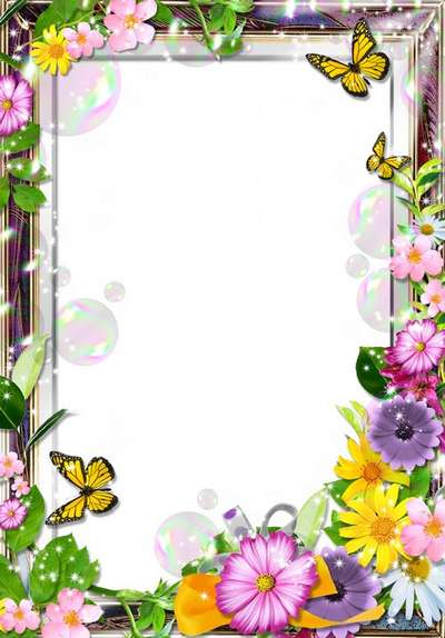 Flower frame for Photoshop - Spring story