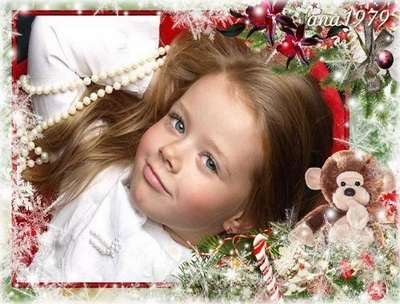 Christmas baby psd frame for Photoshop with a monkey