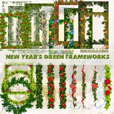 Set of qualitative green frameworks and scenery for zimne-New Year's creativity