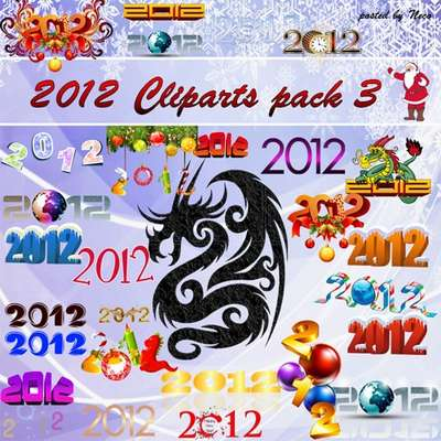 New Year Cliparts 2012 Pack 3