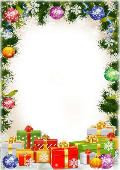 Free Festive frame psd with Christmas gifts for children