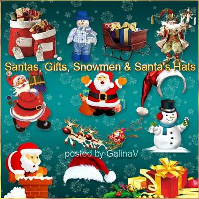 Santas, Gifts, Snowmen, Santa's Hats PNG