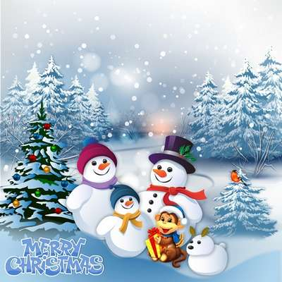 Free Christmas layer PSD source for Photoshop snowmen's and monkey in a snowy forest