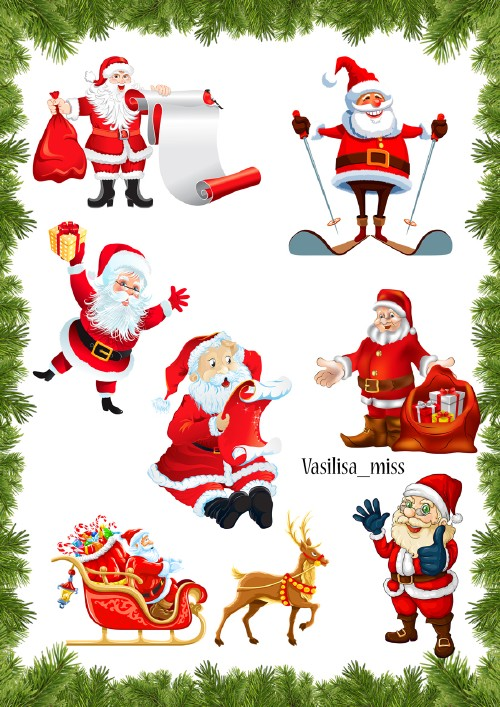 Clipart for the design of Christmas work - Santa Claus