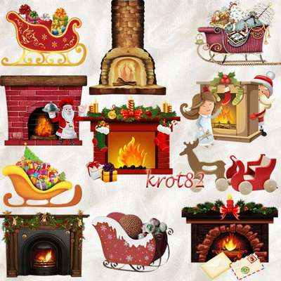 Free set png images Christmas fireplaces png, sleigh png and Santa Claus png clipart