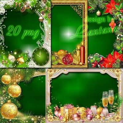Free 20 PNG frames - Set Christmas holiday png photo frames - Free download