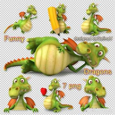 Clipart Funny Dragons PNG