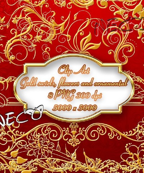 Clipart - Gold swirls, flowers and ornamental PNG