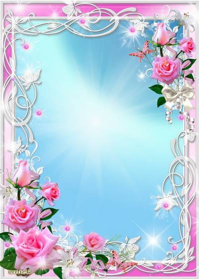 Free PSD Frame for photoshop - Pink roses and white lilies
