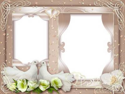 Wedding Frame - A pair of white doves scrapie your union