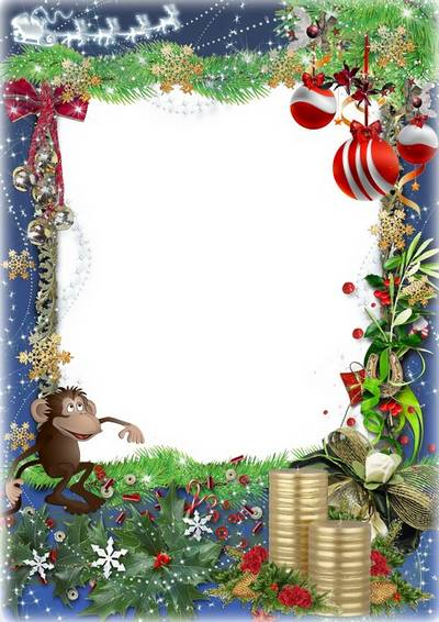 Free psd festive photo frame with branches caustic and Christmas balls
