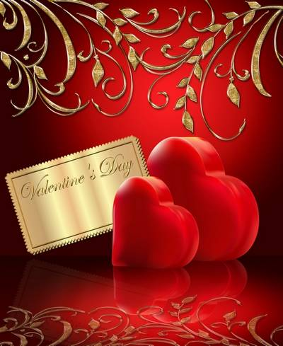 Free Valentine's Day clipart psd (psd backgrounds) - two hearts on a red and blue background