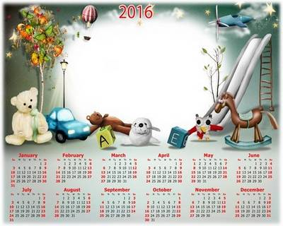 Free 2016 psd calendar for Children's - you can insert baby photo - English, Russian languages