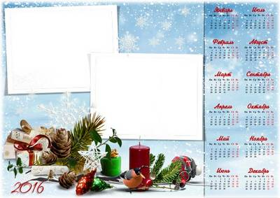 Download PSD Template wall calendar for 2016 in winter design (only Russian language)