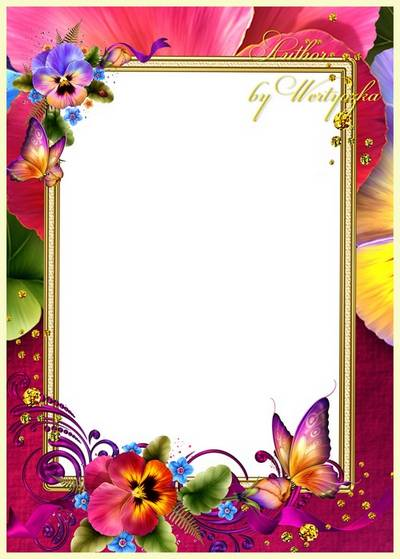 Frame for Photoshop - Lilacs and butterflies