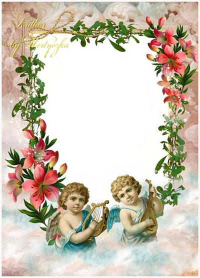 Frame for Photoshop - Angels in the clouds. Transparent PNG Frame ...