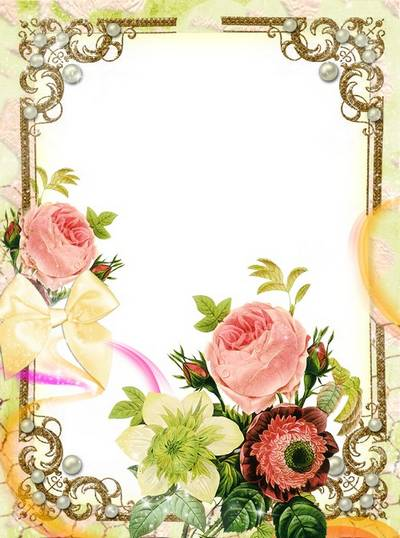 Women's frame - Flowers, gold and pearls