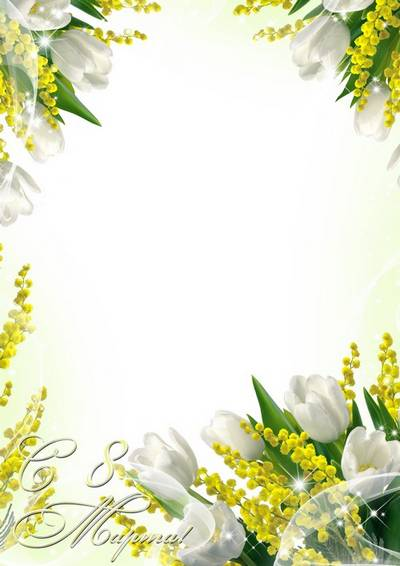 Greeting photo frame with white tulips and mimosa - Spring festive bouquet