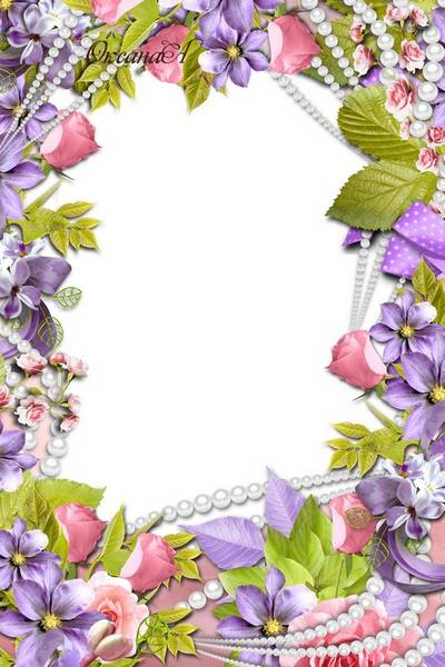 Flower Picture Frame - Roses and  pearls and lilac