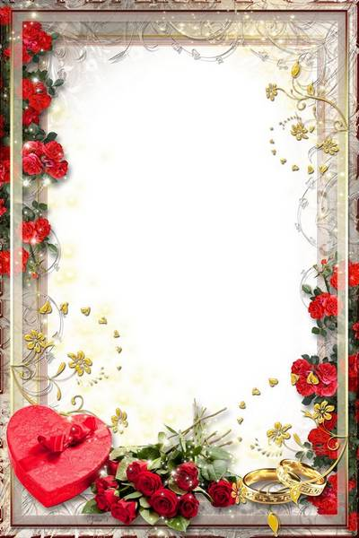 Wedding Frame - Heart Gift and Red Roses
