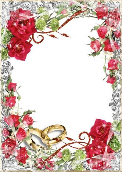 Wedding Photo Frame - Red roses and wedding rings