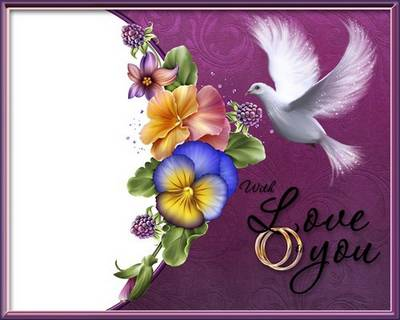 Love photo frame PSD with delicate composition of pansies - Lovely - favorite