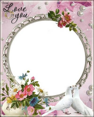 Delicate wedding frame with a bouquet of wild flowers and pearls