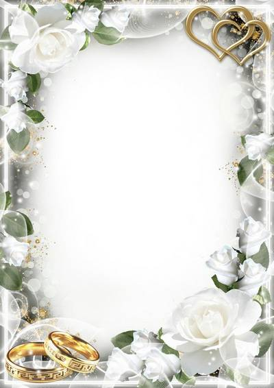 Wedding photo frame - White roses delicate flavor and touch of your lips