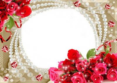 Photo Frame - Roses and Pearls
