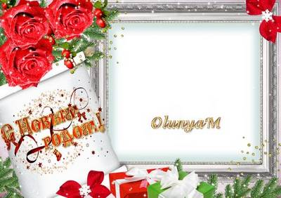 Photo Frame - Christmas with roses
