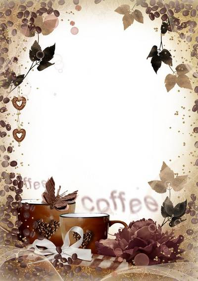 Romantic womens photoframe for Photoshop - A cup of fragrant coffee