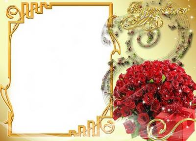 Greeting Photo Frame - Red Roses