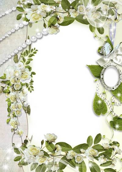 Women's Frame - White Roses and locket