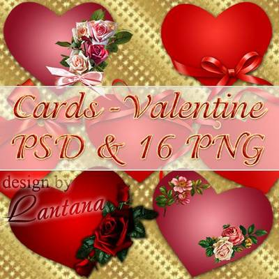Set PNG Hearts - Valentine 16 PNG +  Multilayer PSD for the holiday of lovers
