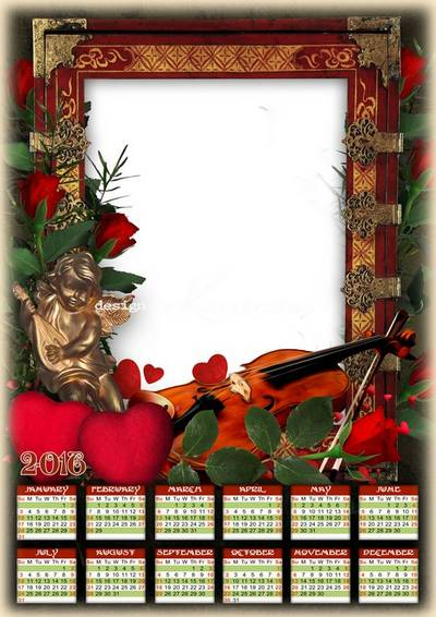 Free 2016 photo calendar psd template romantic style with hearts, angel and violin (English, Spanish, Russian)