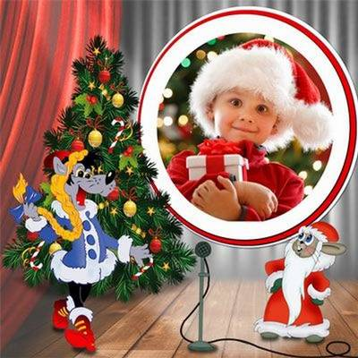 Psd template photo frames for children's photos with cartoon characters and Christmas tree