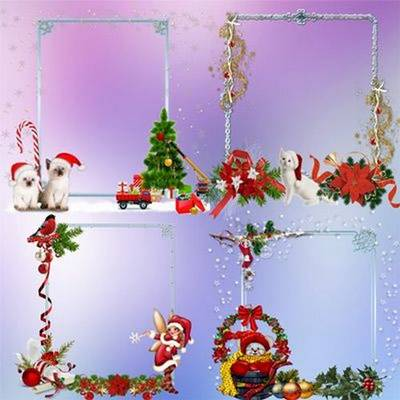 Set png clusters – png frames cutouts - new year snowflake, snowman, Santa Claus, Christmas decorations - 7png