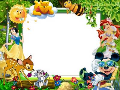 Free psd template photo frames for baby photos with cartoon characters