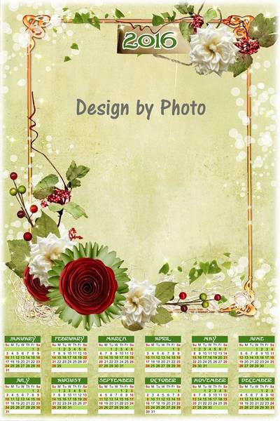 Free 2016 Photo Calendar template psd with flowers (English, Russian)