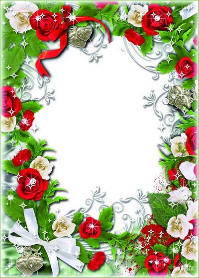 Psd Frame for a photo with red roses and hearts - It is possible to use as wedding