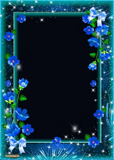 PSD Frame for photoshop - Mysterious and beckoning blue flowers