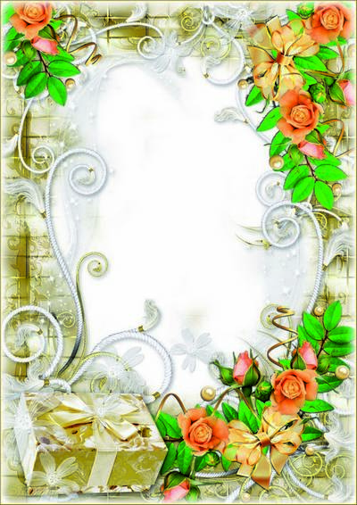 PSD Frame with roses - Buttons - spout stars - Eyes ... Daughter - like a princess from a fairy tale