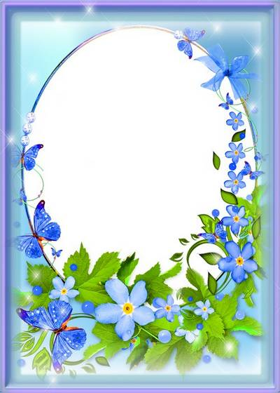 Multi-layered floral frame PSD - Gently-blue flowers