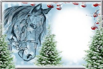 Winter frame for collage pictures - horse-drawn