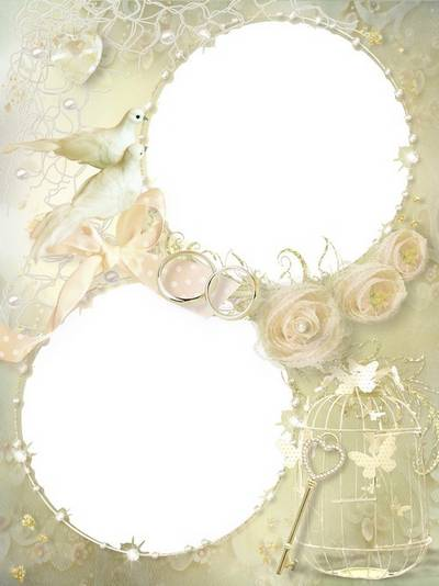 Wedding frame psd template for two photos with delicate roses, cell and small key of happiness