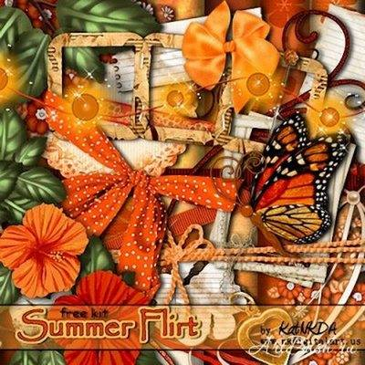 Scrapkit -  Summer Flirt (14 papers JPEG)