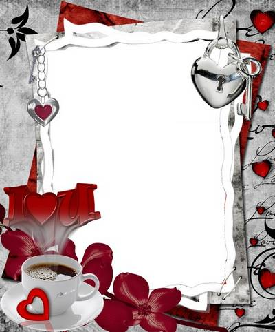 Love frame psd file with heart - download