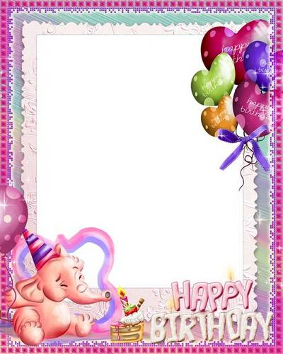 Children frame with a pink elephant - Happy Birthday